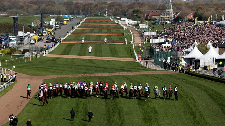 The runners and riders at the start of the Grand National in 2019