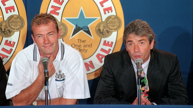 Alan Shearer with Keegan upon signing for the club in 1996
