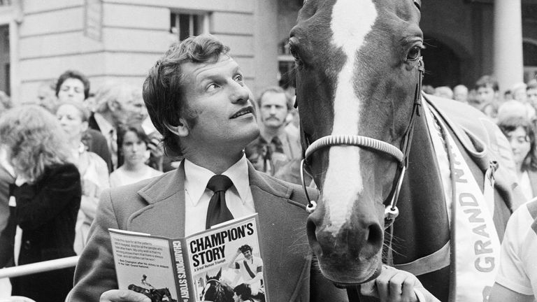14th September 1981: English jockey and Grand National winner Bob Champion with Aldanti at Covent Garden, London. In 1979 Champion was told he had cancer and only eight months to live, at the same time Aldanti was almost put down. Two years later they went onto win the Grand National to popular acclaim. (Photo by Ray Moreton/Keystone/Getty Images)