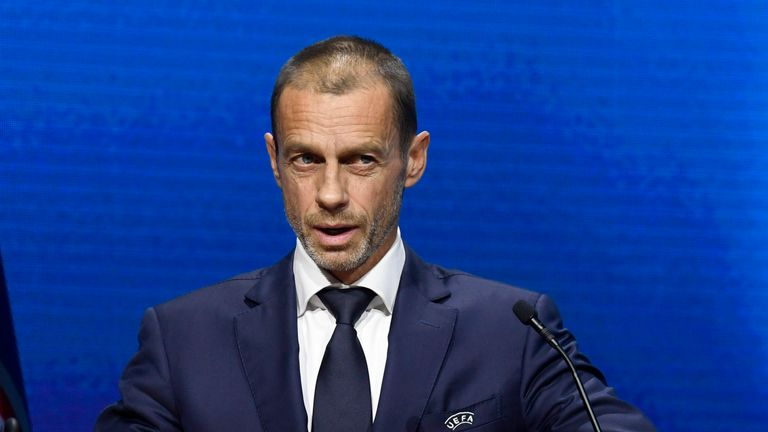 UEFA President Aleksander Ceferin speaks during the 45th UEFA Congress in Montreux (AP)