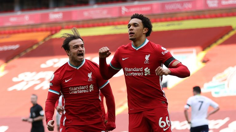 Liverpool's Trent Alexander-Arnold celebrates scoring their side's second goal of the game during the Premier League match at Anfield, Liverpool.