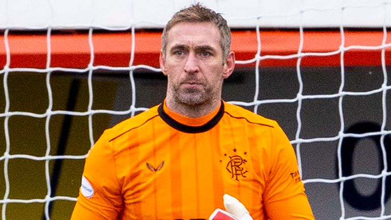 HAMILTON, SCOTLAND - FEBRUARY 07: Rangers' goalkeeper Allan McGregor during a Scottish Premiership match between Hamilton Academical and Rangers at the FOYS Stadium, on February 07, 2021, in Hamilton, Scotland. (Photo by Alan Harvey / SNS Group)