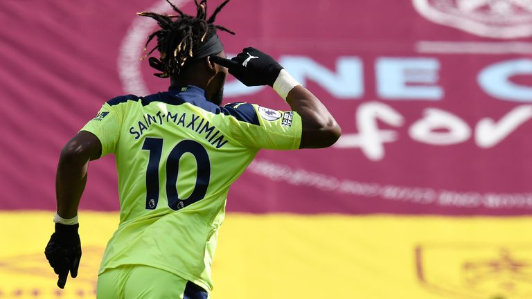 Newcastle's Allan Saint-Maximin celebrates after scoring his team's second goal (AP)