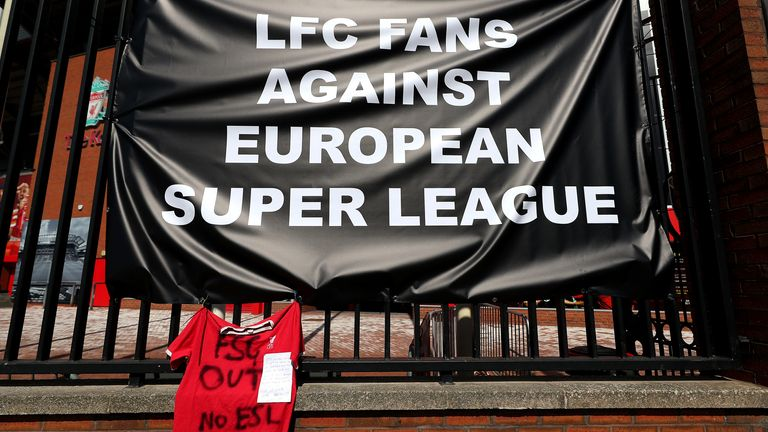 A banner placed outside of Anfield in protest against Liverpool's involvement in a new European Super League