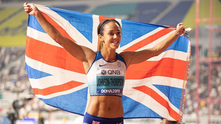 Katarina Johnson-Thompson after she claimed gold in the heptathlon World Athletics Championships 2019 in Doha, Qatar