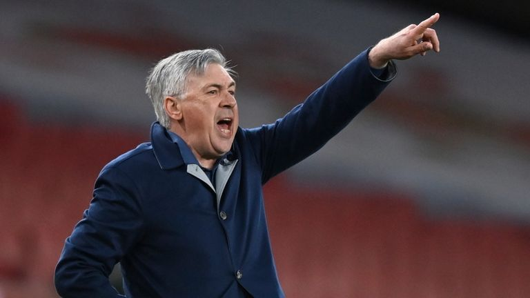 Carlo Ancelotti issues instructions to his players on Friday night