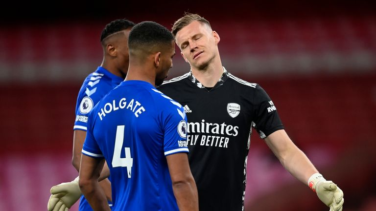 Bernd Leno shows his despair after his own goal gifted Everton victory