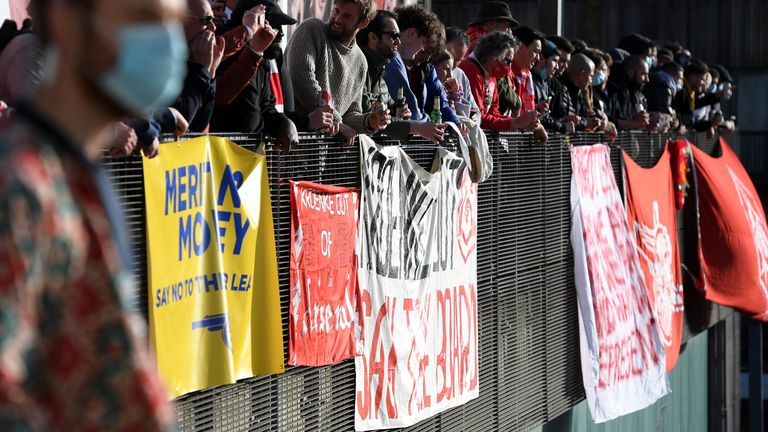 A number of banners indicated discontent towards Stan Kroenke and the club's involvement in the European Super League