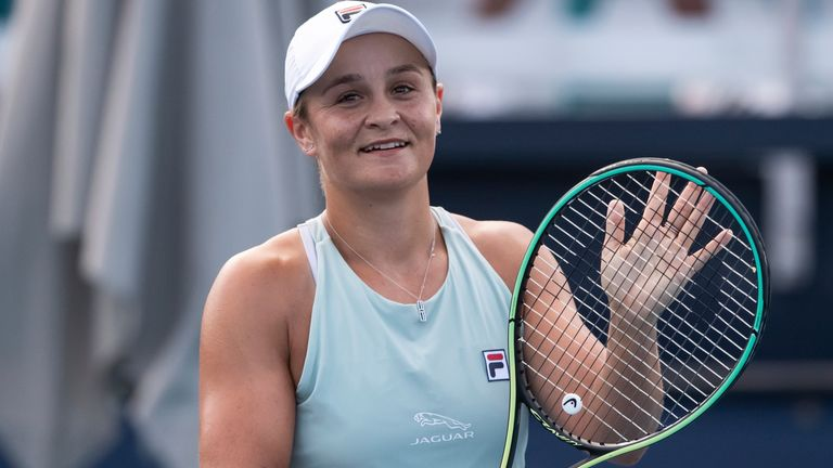 Australia's Ashleigh Barty will make the transition ahead of the European clay-court season (Peter McMahon/Miami Dolphins via AP)