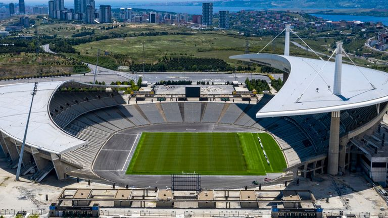 A aerial view of Ataturk Olympic Stadium in Istanbul