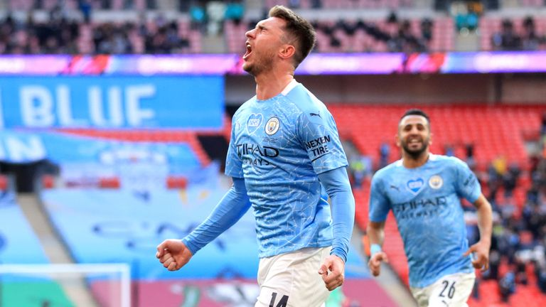 Manchester City's Aymeric Laporte celebrates scoring the winner in the Carabao Cup final