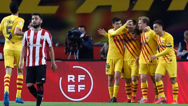 Barcelona overwhelmed Athletic Bilbao in the second half in Sevilla
