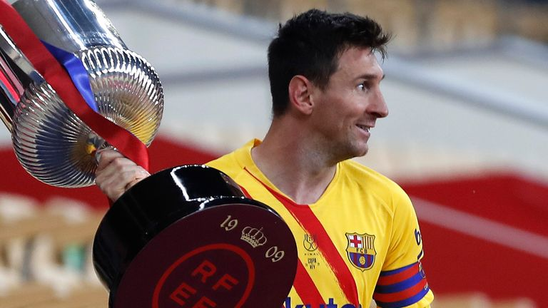 Lionel Messi lifted the Copa del Rey for the seventh time in his career but first since becoming club captain with the win over Athletic Bilbao