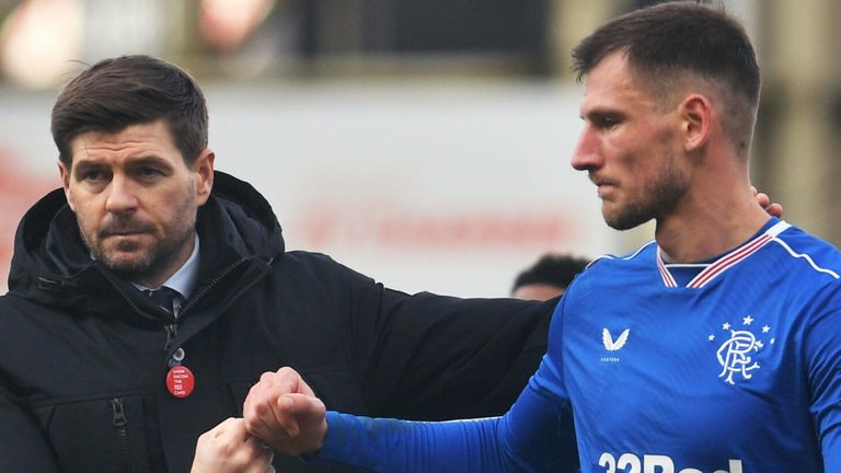 MOTHERWELL, SCOTLAND - JANUARY 17: Rangers Manager Steven Gerrard with Borna Barisic at Full Time during a Scottish Premiership match between Motherwell and Rangers at Fir Park on January 17, 2021, in Motherwell, Scotland (Photo by Craig Foy / SNS Group)