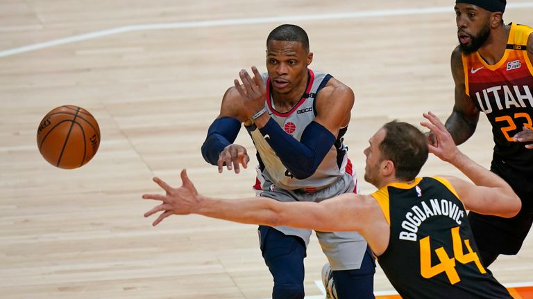 Russell Westbrook contributed 25 points, 15 assists and 15 rebounds as Washington beat Utah.
