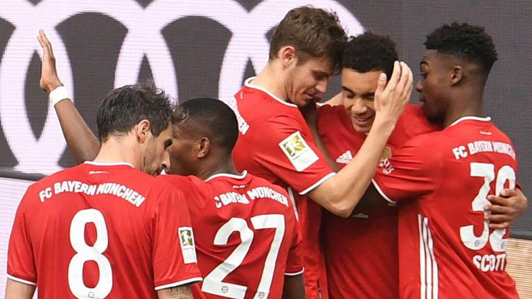 Bayern Munich celebrate after Jamal Musiala's goal