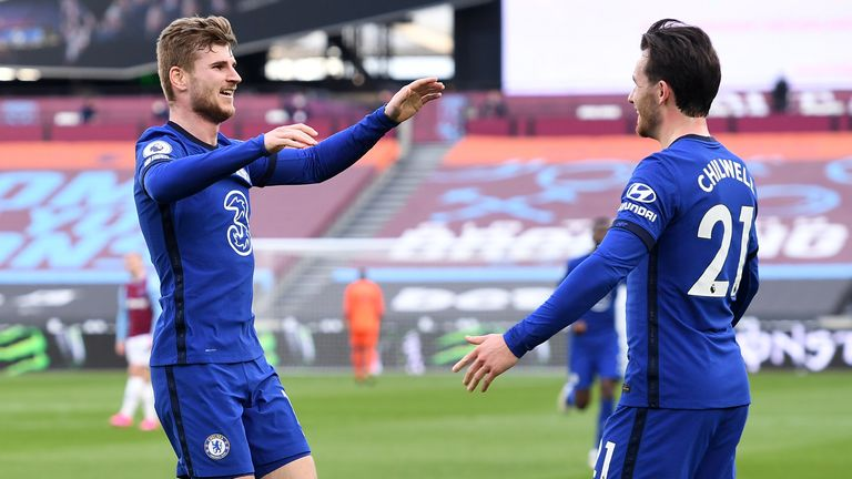 Timo Werner celebrates with Ben Chilwell after the pair combined for the opener