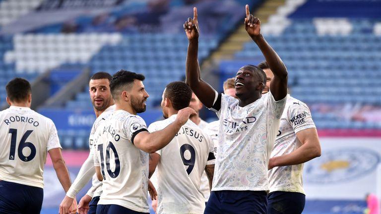 Benjamin Mendy celebrates a rare Premier League strike to give City the lead