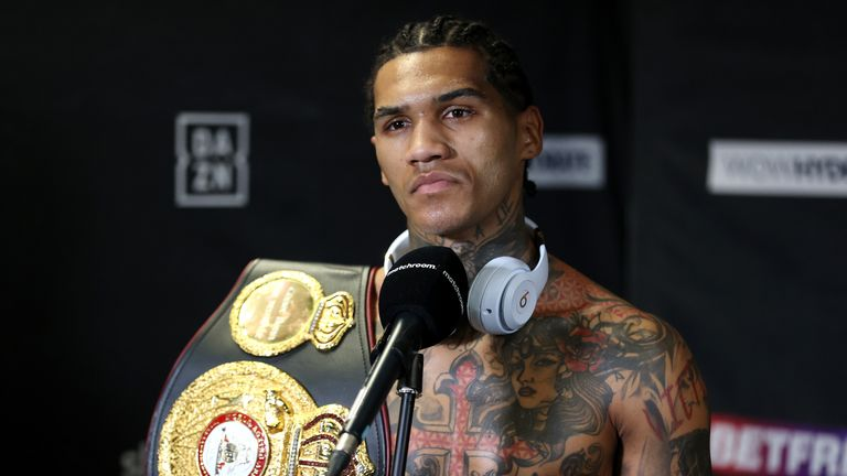 Conor Benn vs Samuel Vargas, WBA Continental Welttereight Title Fight. 10 April 2021 Picture By Mark Robinson Matchroom Boxing Conor Benn interviewed after his win with his belt.