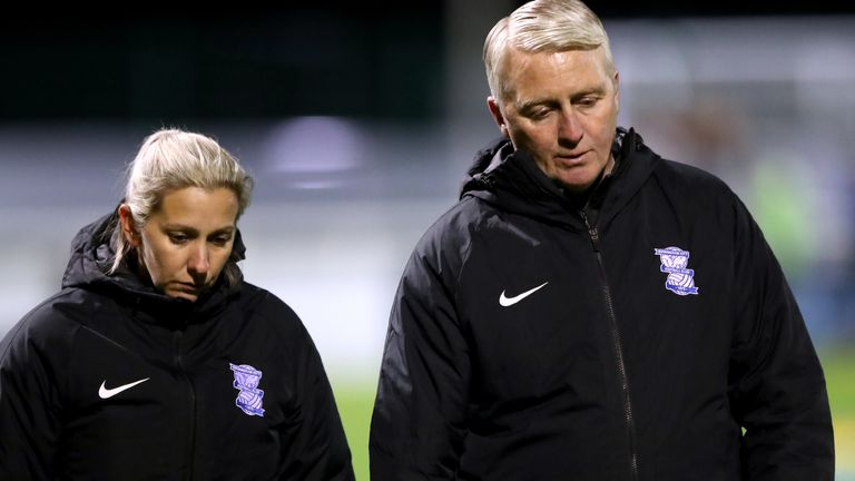 Birmingham Women manager Carla Ward (L) and assistant Alan Reeves (R) are working to ensure the club avoids relegation this season