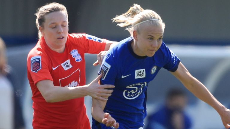 Birmingham City's Harriet Scott and Chelsea's Pernille Harder