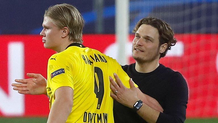 Borussia Dortmund boss Edin Terzic and Erling Haaland
