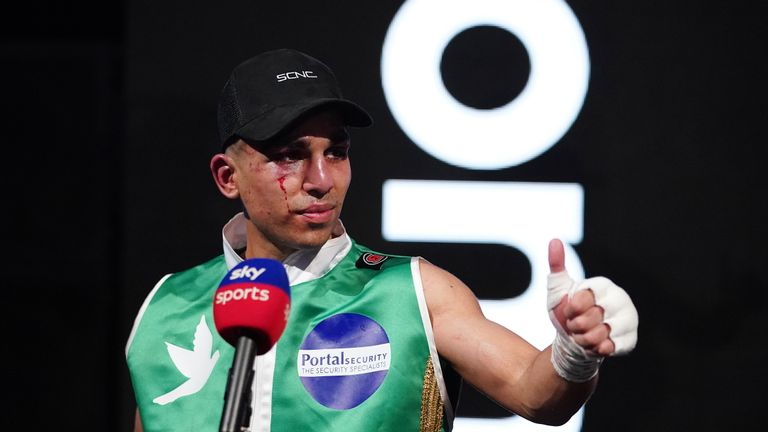 Alexander Espinoza vs Kash Farooq, WBC International Silver Bantamweight Title Fight. 10 April 2021 Picture By Dave Thompson Matchroom Boxing Kash Farooq after his win.
