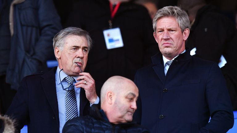 Marcel Brands (right) with Everton manager Carlo Ancelotti