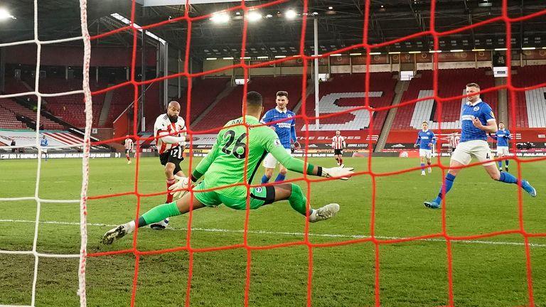 McGoldrick wrong-foots Robert Sanchez to break the deadlock