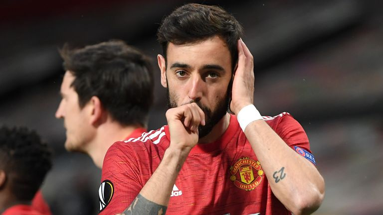 Bruno Fernandes opens the scoring for Man Utd against Roma in the Europa League semi-final first leg