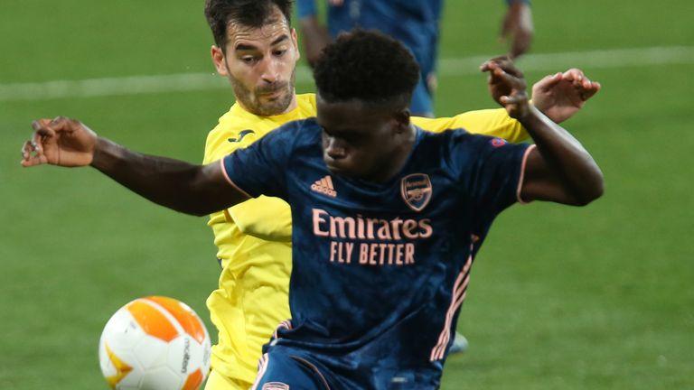 Bukayo Saka in action for Arsenal at Villarreal
