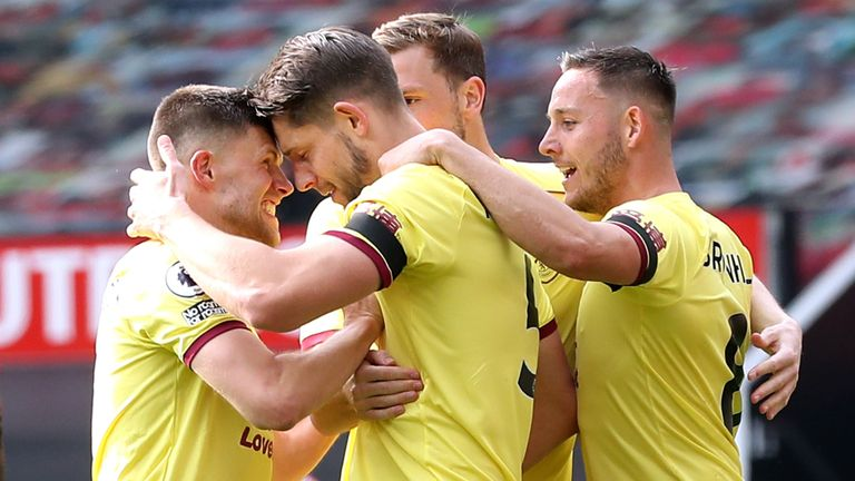 Burnley's James Tarkowski celebrates with his team-mates after scoring against Manchester United