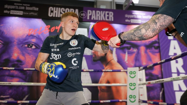 *** FREE FOR EDITORIAL USE ***.Campbell Hatton trains at the fight hotel.28 April 2021.Picture By Mark Robinson Matchroom Boxing