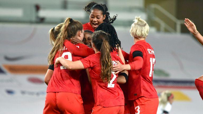 AP - Women of Canada Celebrate Against England
