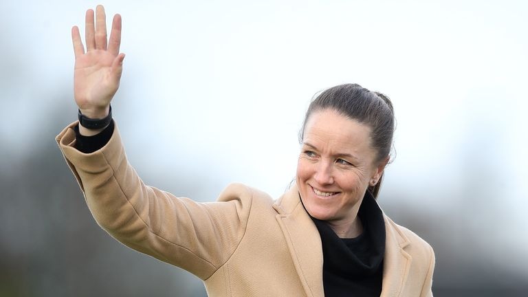Manchester United head coach Casey Stoney before the FA Women's Super League match at Walton Hall Park, Liverpool.