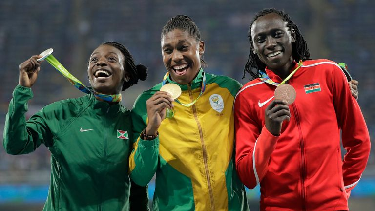 Semenya (centre) will be unable to defend the Olympics 800m title she won in Rio