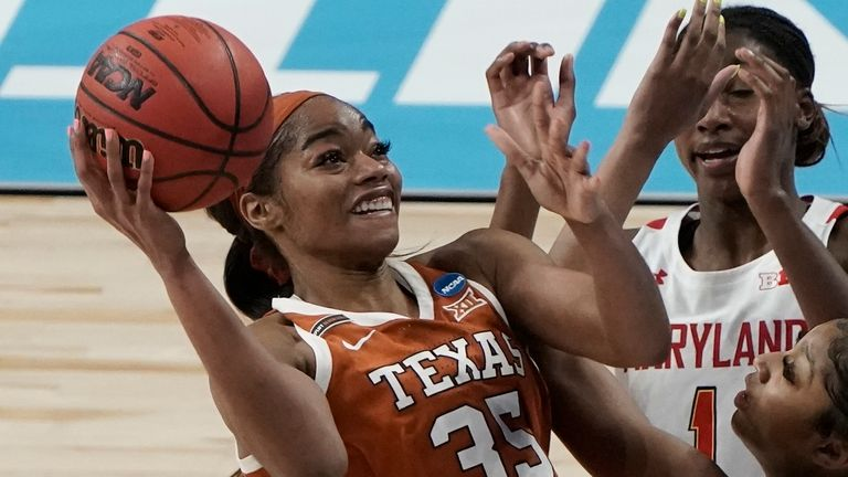 Texas's Charli Collier (No 35) was selected first overall by the Dallas Wings in Thursday night's WNBA Draft  (AP Photo/Morry Gash)