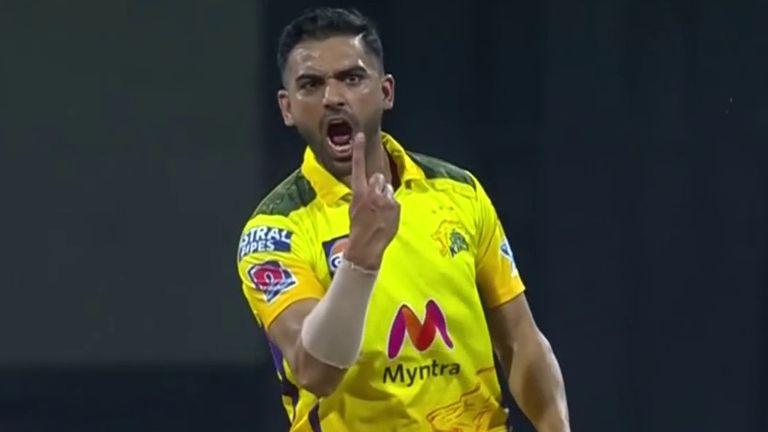 Deepak Chahar claimed his best IPL figures of 4-13 as he shredded Punjab Kings' top order in Mumbai