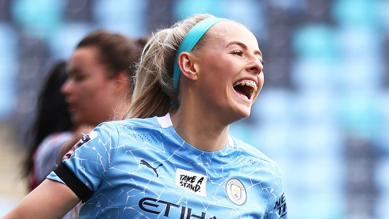 Chloe Kelly scored a hat-trick as Manchester City beat Aston Villa 8-0