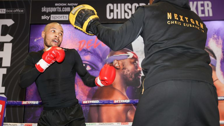 *** FREE FOR EDITORIAL USE ***.Chris Eubank Jr trains at the fight hotel with trainer Roy Jones Jr..28 April 2021.Picture By Mark Robinson Matchroom Boxing