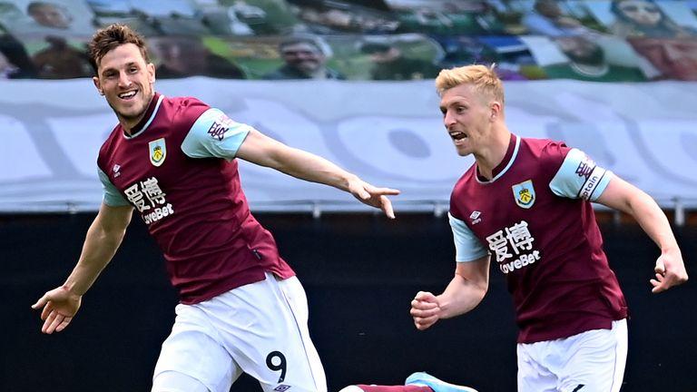 Chris Wood celebrates scoring a hat-trick for Burnley vs Wolves