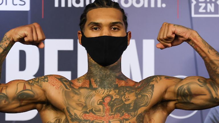 *** FREE FOR EDITORIAL USE ***.Conor Benn and Samuel Vargas Weigh In ahead of their WBA Continental Welterweight Title on tomorrow Night..9 April 2021.Picture By Mark Robinson Matchroom Boxing