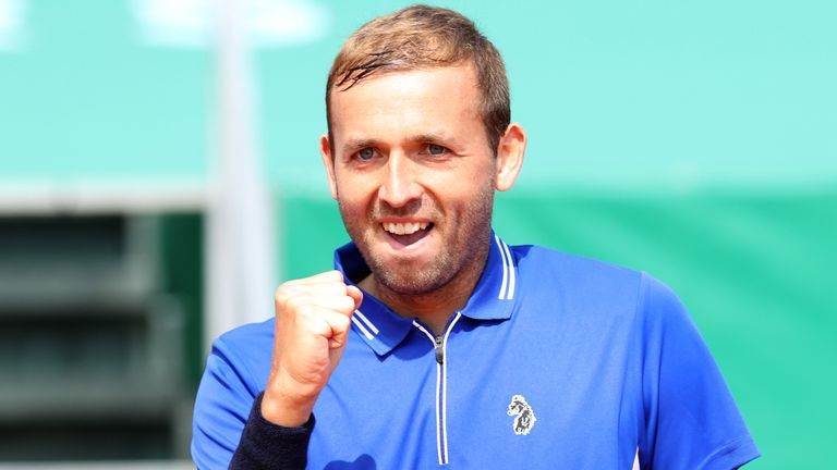 Dan Evans of Great Britain celebrates winning his quarterfinal match against Novak Djokovic of Serbia during day five of the Rolex Monte-Carlo Masters at Monte-Carlo Country Club on April 15, 2021 in Monte-Carlo, Monaco. (Photo by Alexander Hassenstein/Getty Images)