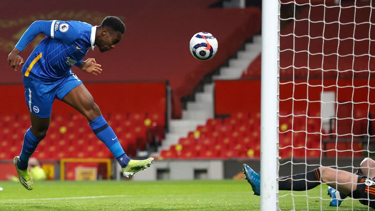 Welbeck stoops to score his third goal against his former club