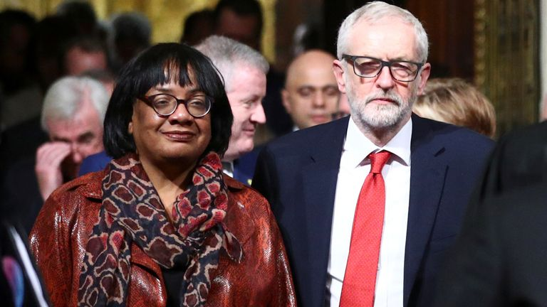 Labour Party Leader Jeremy Corbyn and Shadow Home secretary Diane Abbott , during the State Opening of Parliament by Queen Elizabeth II, in the House of Lords at the Palace of Westminster in London. PA Photo. Picture date: Thursday December 19, 2019. See PA story POLITICS Speech. Photo credit should read: Hannah McKay/PA Wire