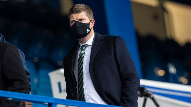 SNS - GLASGOW, SCOTLAND - APRIL 18: Incoming Celtic Chief Executive Dominic McKay during a Scottish Cup tie between Rangers and Celtic at Ibrox Stadium, on April 18, 2021, in Glasgow, Scotland. (Photo by Craig Williamson / SNS Group)