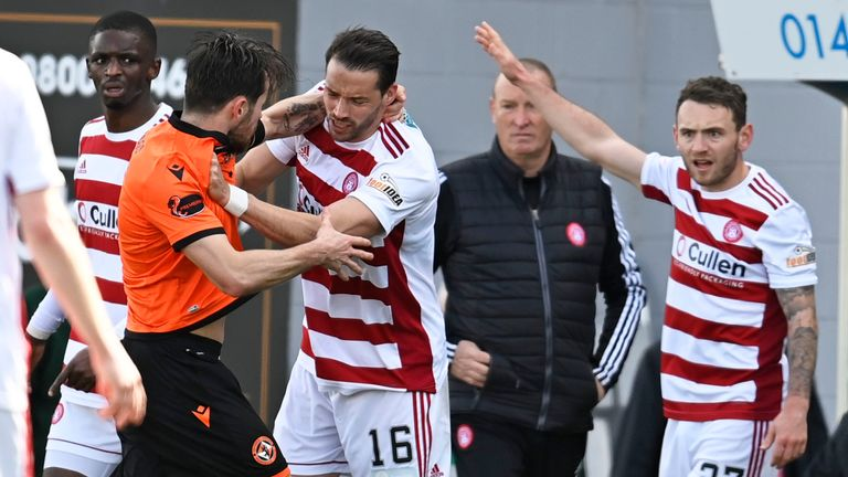 Marc McNulty and Aaron Martin clash as tempers flared at the FOYS Stadium