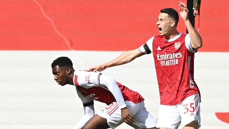 Eddie Nketiah wheels away after equalising in injury time against Fulham