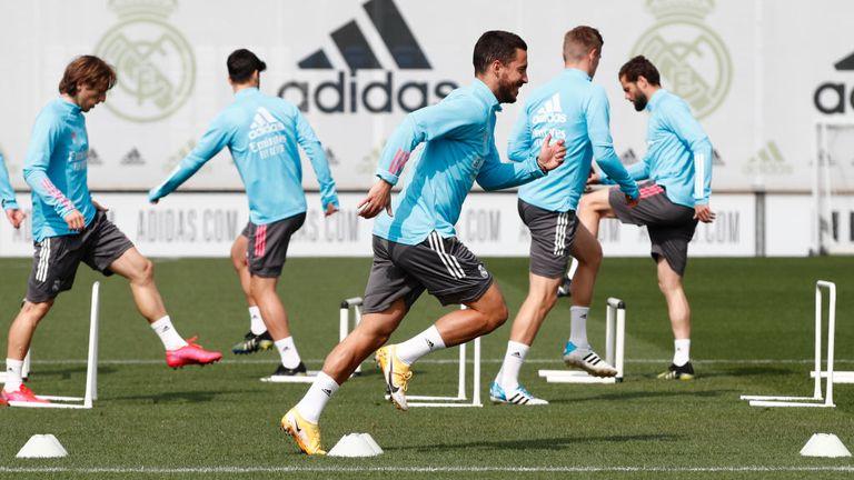 Real Madrid's Eden Hazard in training
