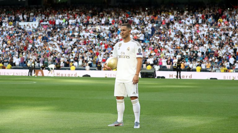 Eden Hazard is presented to the Real Madrid fans at his unveiling in 2019